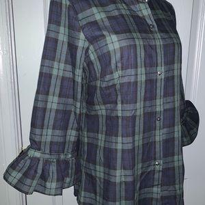 Gretchen Scott 100%Cotton plaid bell sleeve Shirt.